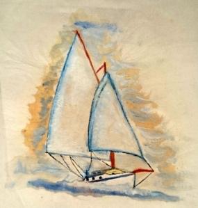 Painted Tote Bag Sailing Ship