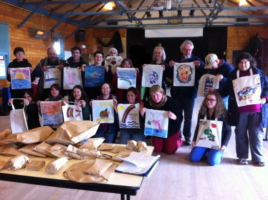 Portsea Camp Group Photo Painted Bags